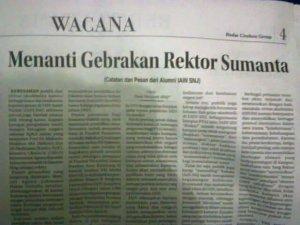 """Tulisanku di Kolom Wacana Radar Cirebon, Kamis 8 Januari 2015 """"Menanti Gebrakan Rektor Sumanta (Catatan dan Pesan Alumni IAIN SNJ)"""""""