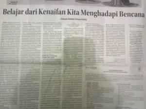 """Tulisanku di Kolom Wacana Radar Cirebon, Selasa 6 Januari 2015 """"Belajar Dari Kenaifan Kita Menghadapi Bencana"""""""