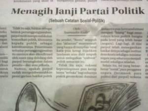 """Tulisanku di Kolom Wacana Radar Cirebon, Selasa 13 Januari 2015 """"Menagih Janji Partai Politik"""""""