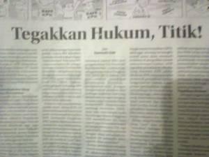 """Tulisanku di Kolom Wacana Radar Cirebon, Senin 26 Januari 2015 """"Tegakkan Hukum, Titik!"""""""