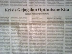 "Tulisanku di Kolom Wacana Radar Cirebon, Selasa 3 Februari 2015 ""Krisis Gejag dan Optimisme Kita"""