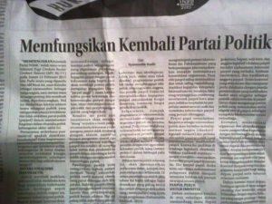 """Tulisanku di Kolom Wacana Radar Cirebon, Selasa 17 Februari 2015 """"Memfungsikan Kembali Partai Politik"""""""