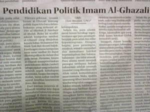 """Tulisanku di Kolom Wacana Radar Cirebon, Rabu 28 Januari 2015 """"Pendidikan Politik Imam Al-Ghazali"""""""